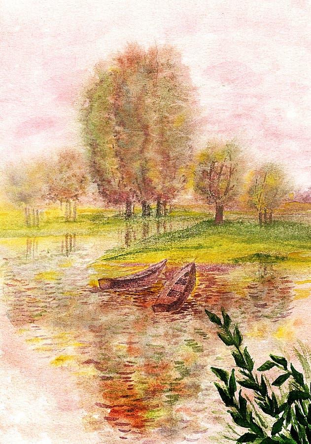 Boten op de rivier watercolor royalty-vrije illustratie