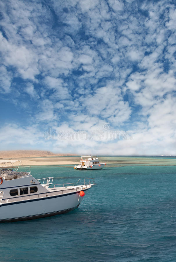 Boten op de Rode Overzeese kust royalty-vrije stock foto