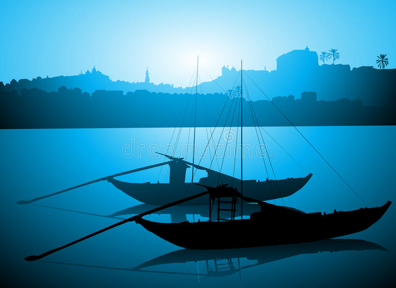 Boten op Douro-rivier, Porto Portugal stock illustratie