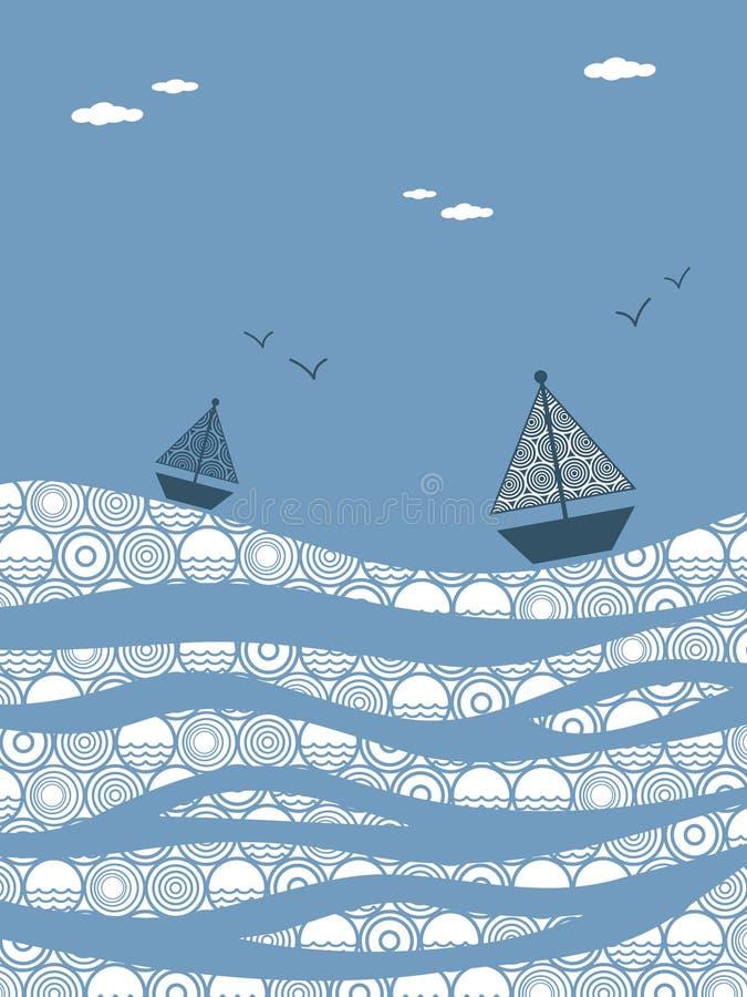 Boten op het water vector illustratie