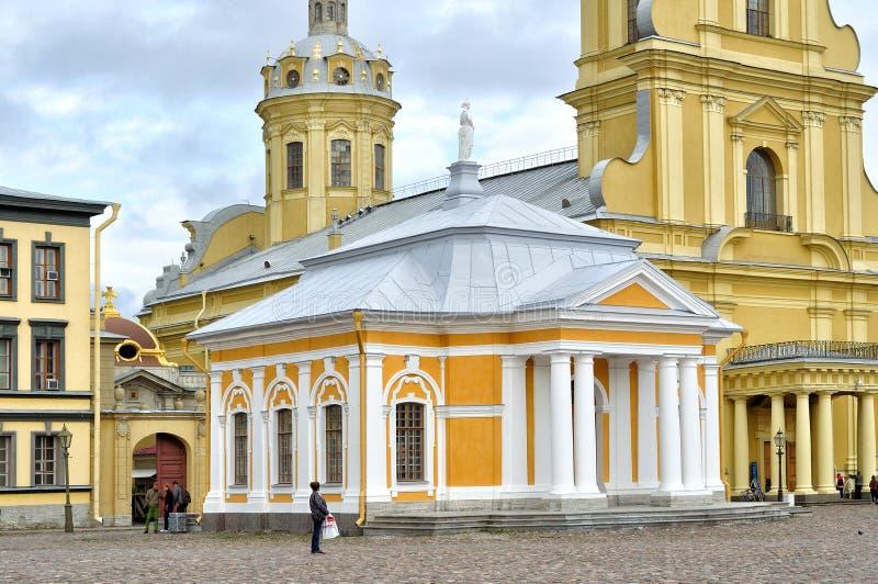 Botenhuis van Peter Groot en Peter en de kathedraal van Paul, Peter en Paul Fortress, Heilige Petersburg, Rusland stock foto's