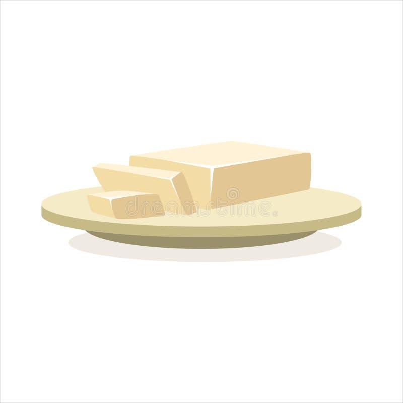 Boter of margarine op een het ingrediënten vectorillustratie van het plaatbaksel royalty-vrije illustratie