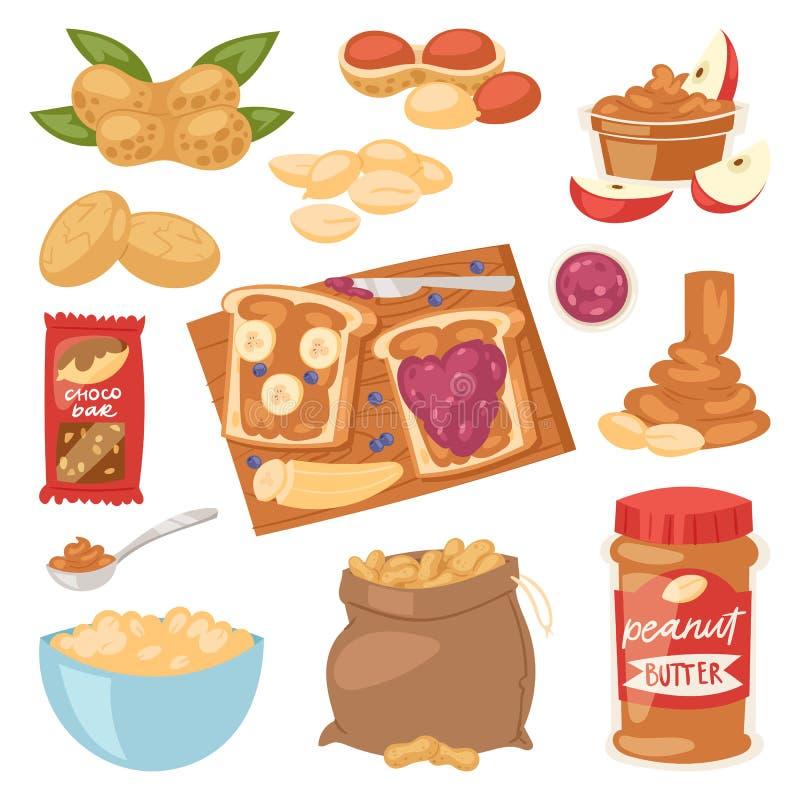 Boter van de pinda roomt de vectoraardnoot of het pindadeeg op de illustratiereeks van het toostbrood van voedzame noot of notedo stock illustratie