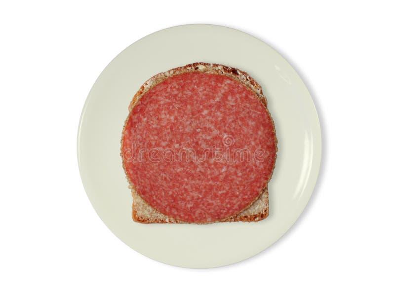 Boterham met salami stock foto's