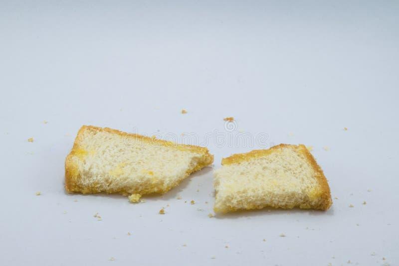 Boterkoekjescracker met suiker op witte achtergrond stock foto's
