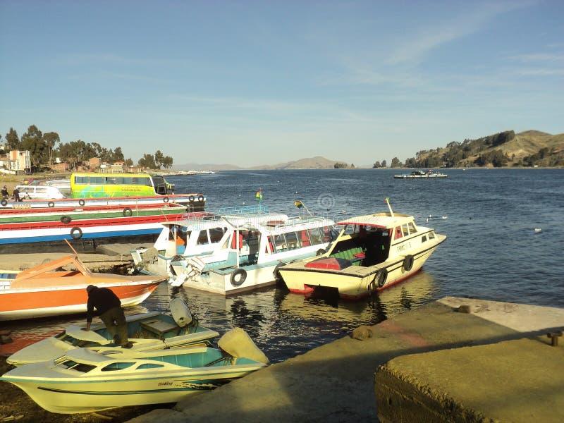 Botes玻利维亚copacabana 免版税库存图片
