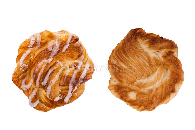 Both side of fresh danish pastries. Studio shot isolated on whit stock images