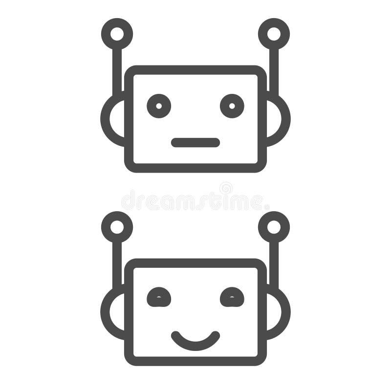 Botikone Chatbot-Ikonenkonzept Netter lächelnder Roboter Moderne Linie Charakterillustration des Vektors lokalisiert auf Weiß lizenzfreie abbildung