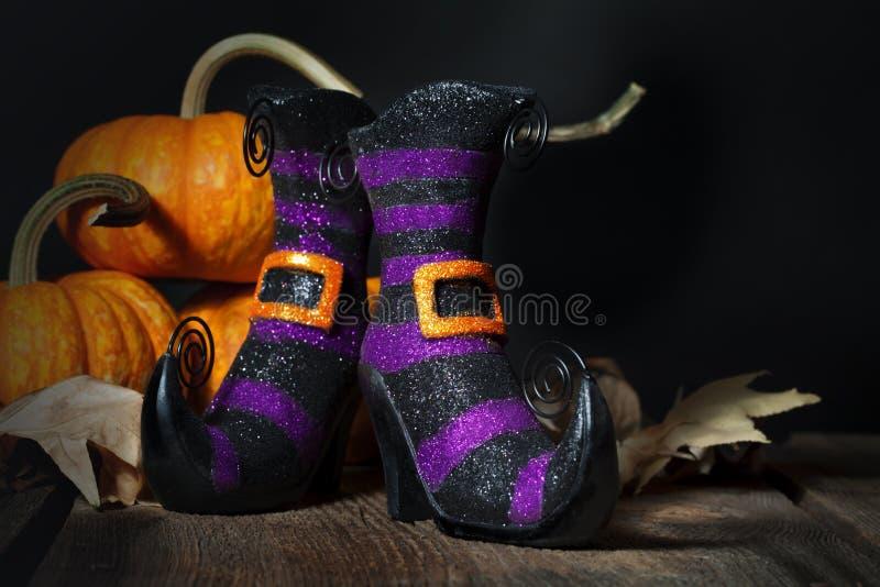 Botines de las brujas de Halloween foto de archivo libre de regalías