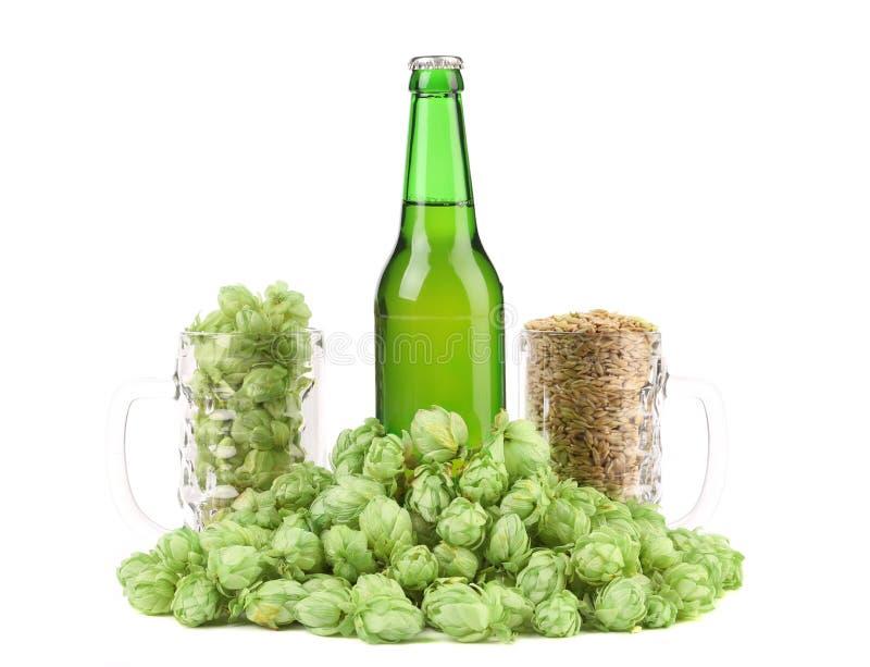 Botlle de la cerveza y salto verde. fotos de archivo