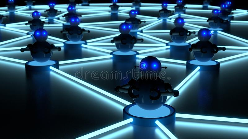 Botnet concept with glowing eyes platform bots. Network of blue platforms in the dark with bots on top botnet cybersecurity concept 3D illustration stock illustration