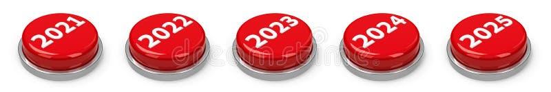 Botones - 2021 2022 2023 2024 2025 ilustración del vector