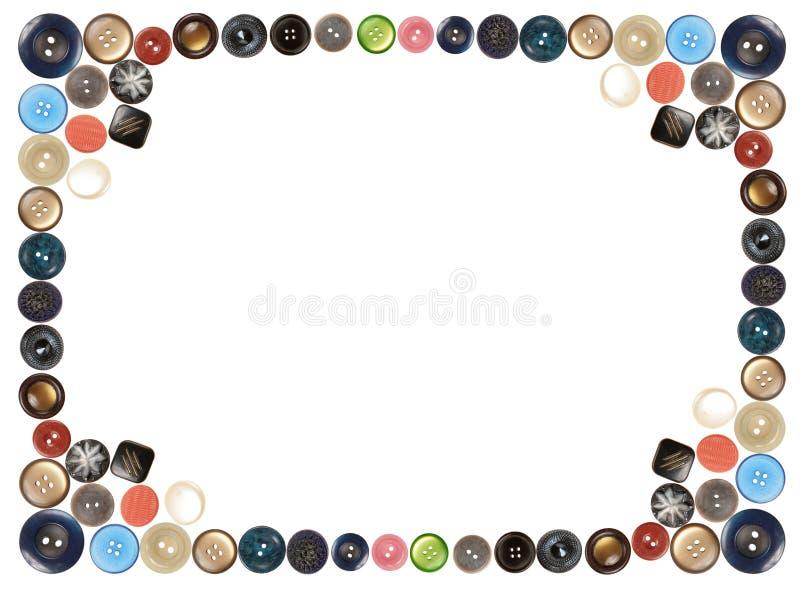 Botones Aislados En El Collage Blanco Del Marco Foto de archivo ...