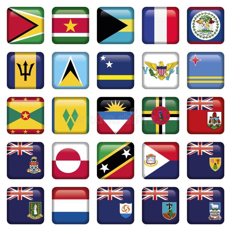 Botones ajustados suaves de las banderas americanas stock de ilustración