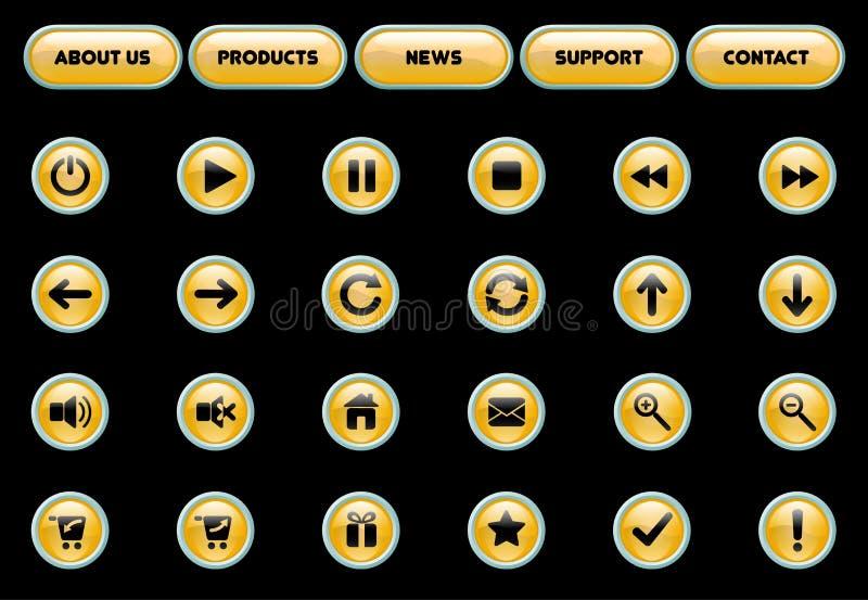 Botones amarillos y negros del Web libre illustration