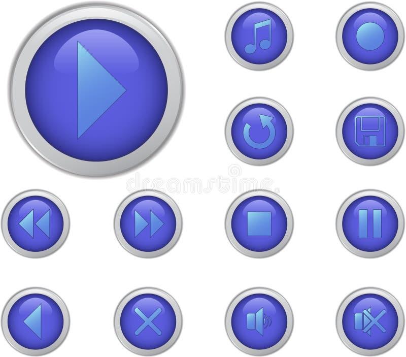 Botones azules de los media fijados imágenes de archivo libres de regalías