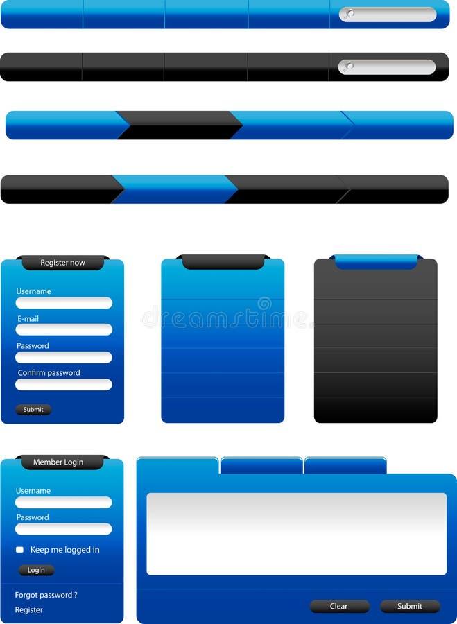 Botones azules del Web ilustración del vector