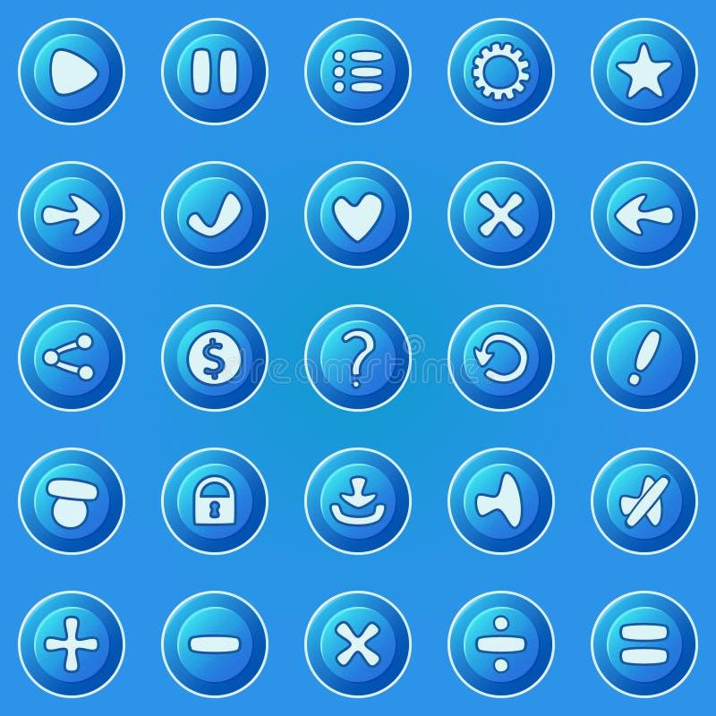 Botones azules para el juego UI ilustración del vector