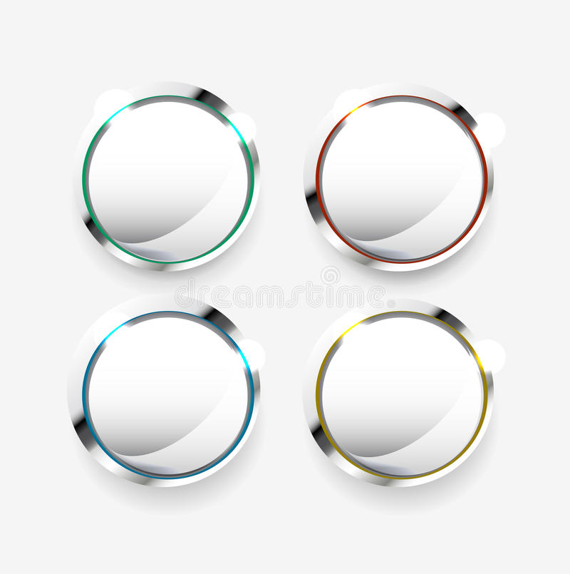 Botones blancos en blanco stock de ilustración