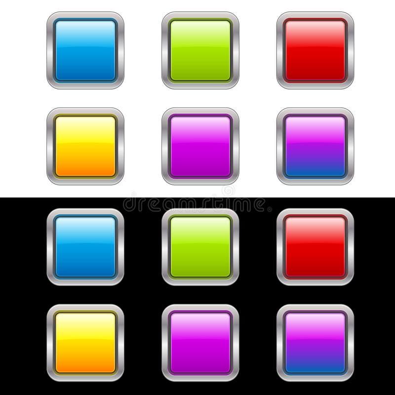Botones brillantes con el marco metálico ilustración del vector