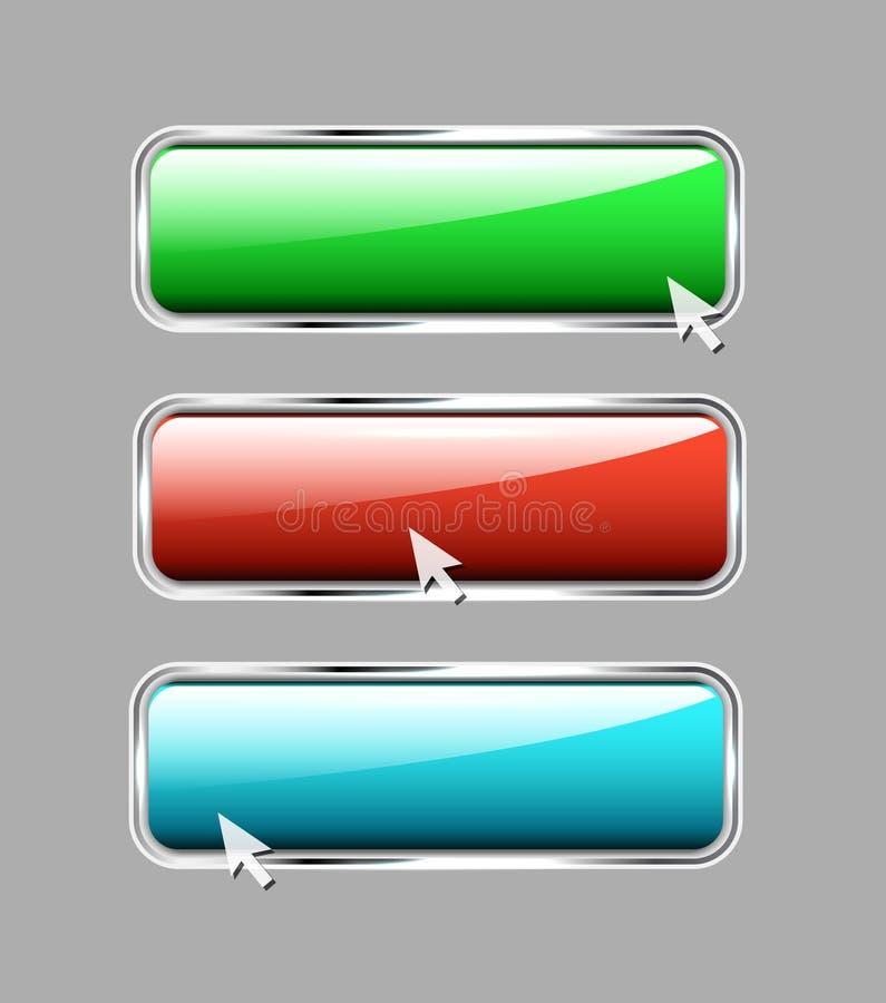 Botones brillantes del metal stock de ilustración