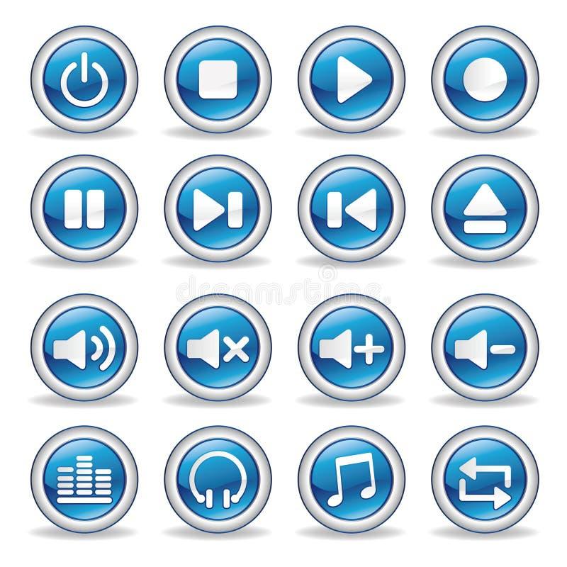 botones brillantes del reproductor multimedia ilustración del vector
