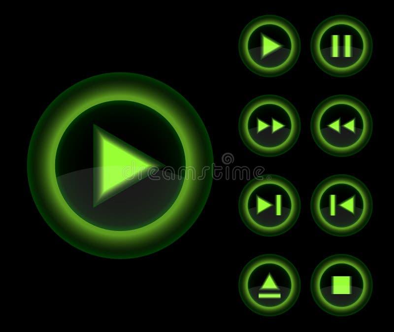 Botones brillantes del verde del jugador 3d del vector fijados. stock de ilustración