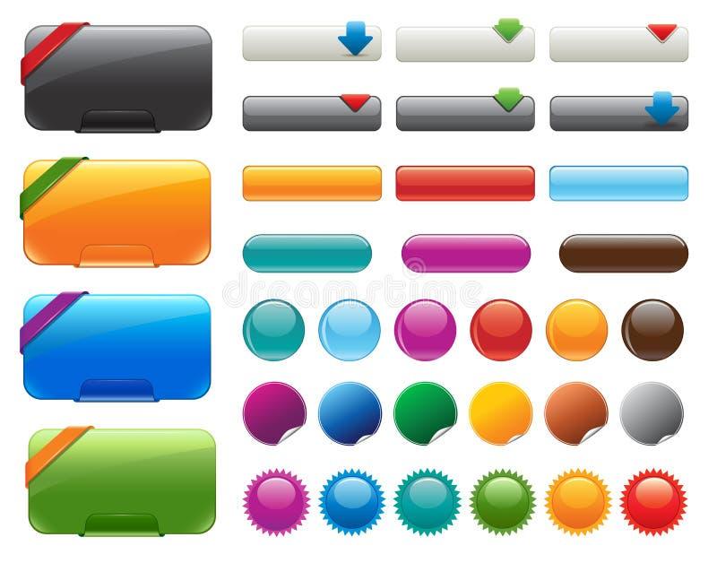 Botones brillantes del Web site stock de ilustración