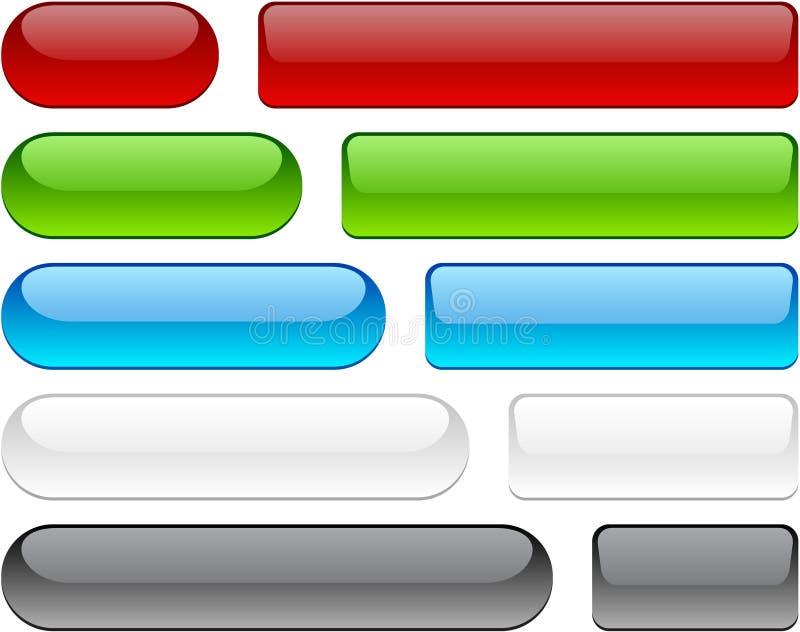 Botones brillantes en blanco.