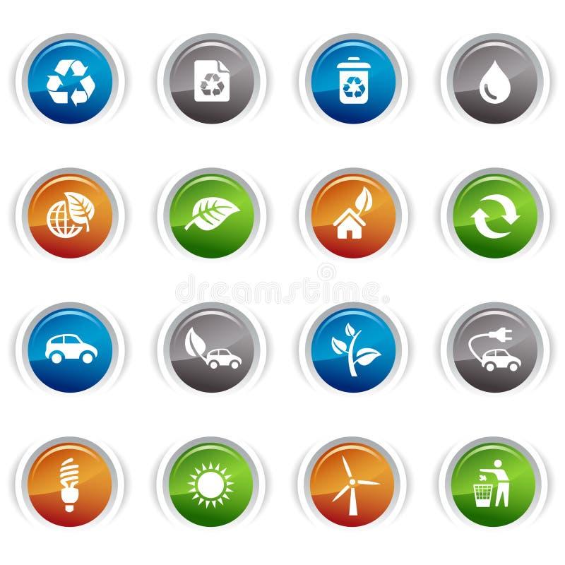 Botones brillantes - iconos ecológicos ilustración del vector