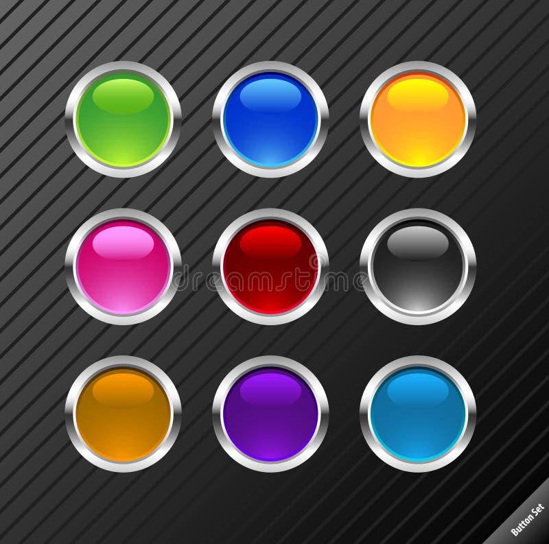 Botones brillantes redondos. stock de ilustración
