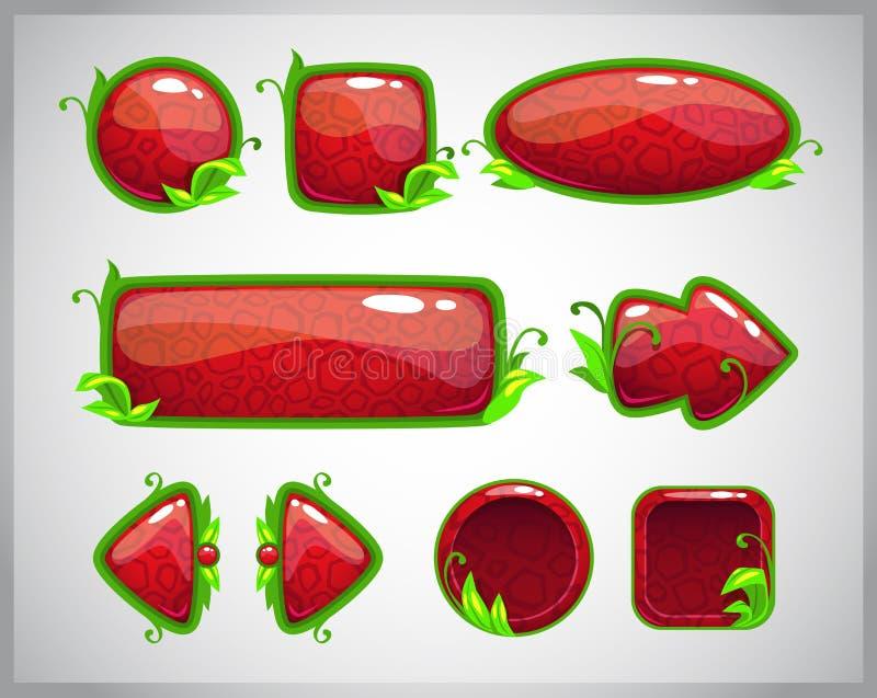 Botones brillantes rojos de la historieta con los elementos de la naturaleza stock de ilustración