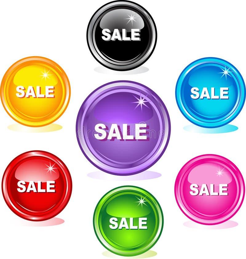 Botones coloreados del Web, venta libre illustration