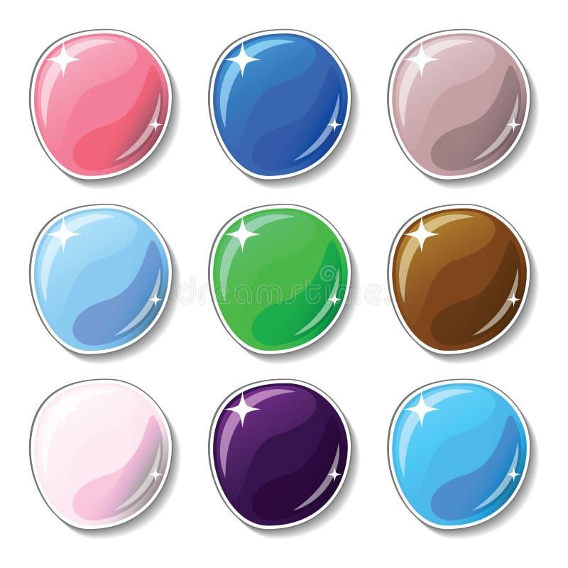 Botones coloreados naturales con el efecto superficial de cristal Los botones en blanco fijaron para el gráfico del diseño web o  stock de ilustración