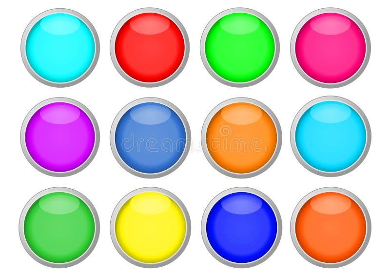 Botones coloreados para los iconos ilustración del vector