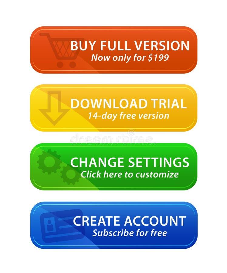 Botones coloridos del Web con los iconos ilustración del vector