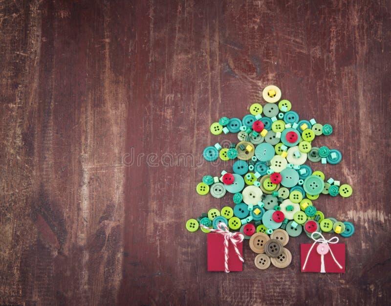 Botones como árbol de navidad decorativo foto de archivo