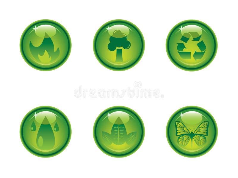 Botones con clase de la ecología ilustración del vector