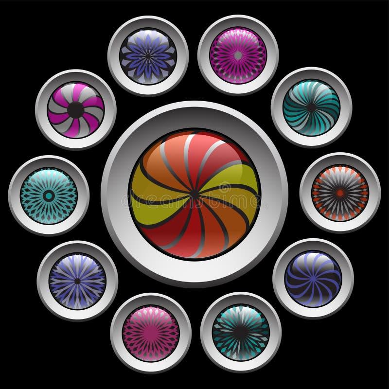 Botones con el modelo decorativo del color. stock de ilustración