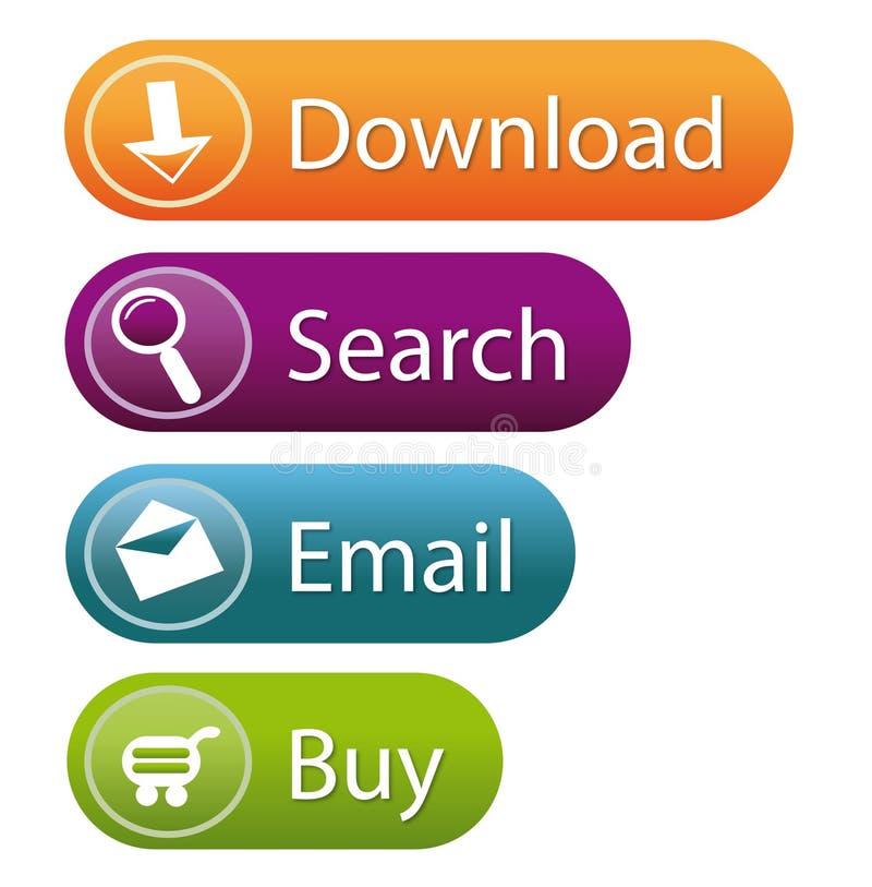 Botones con estilo del Web site stock de ilustración