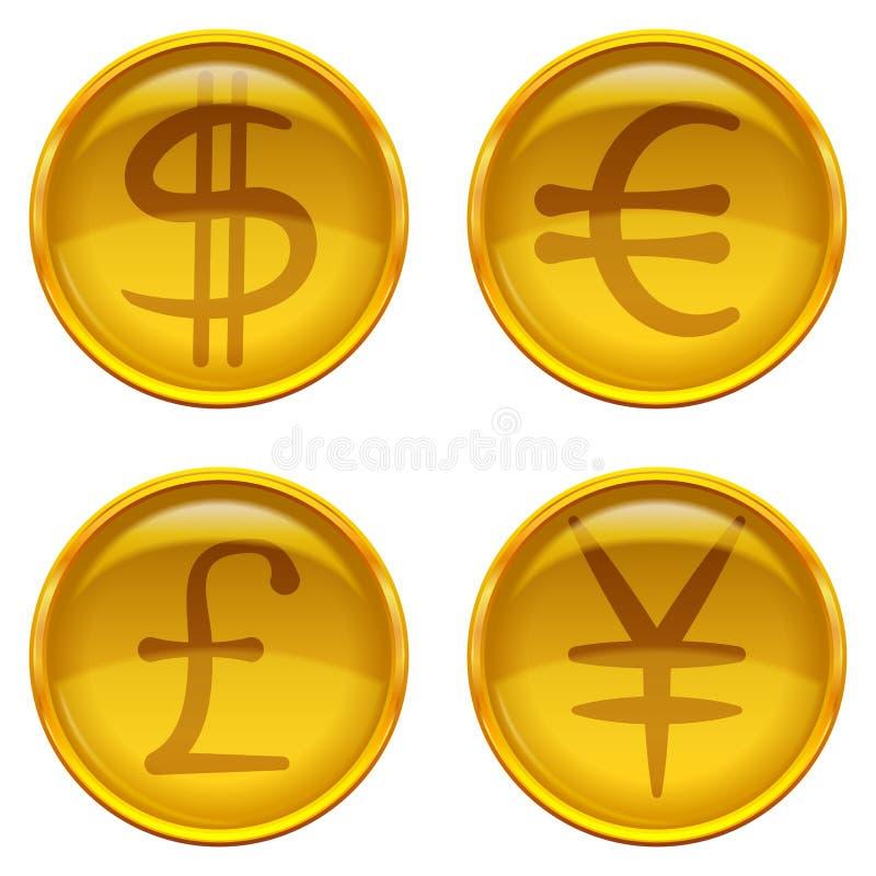 Botones con las muestras de moneda, sistema libre illustration