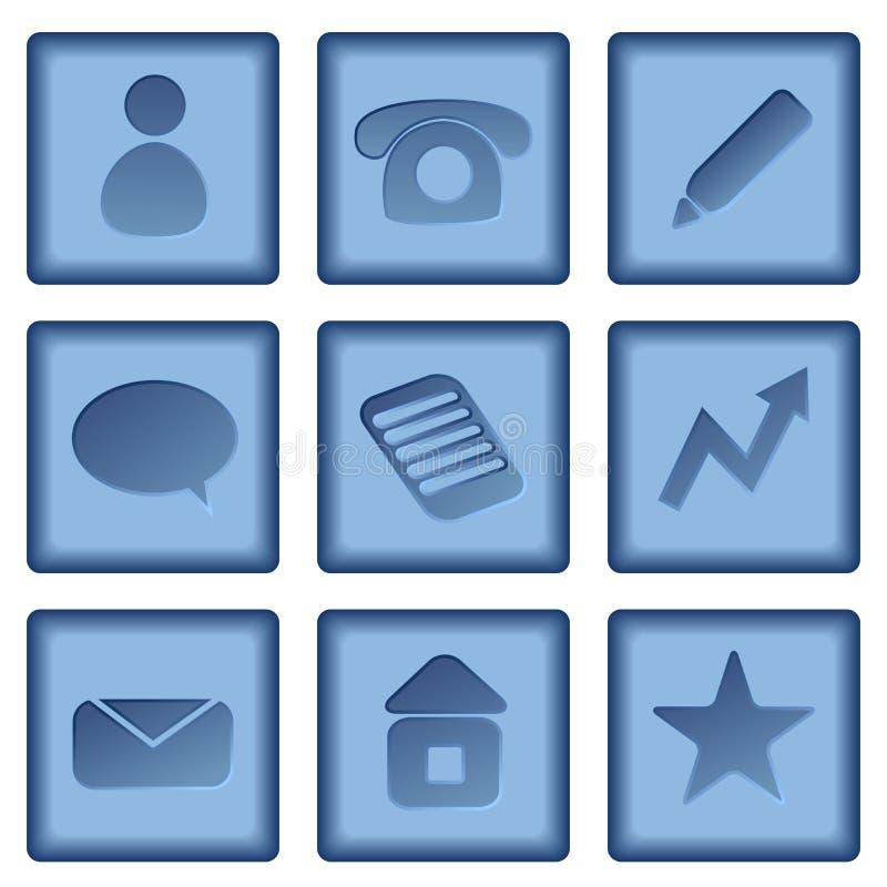 Botones con los iconos del asunto ilustración del vector