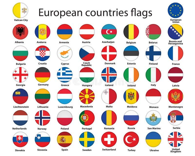 Botones con los indicadores de Europa stock de ilustración