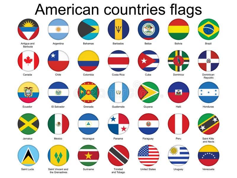 Botones con los indicadores de países americanos libre illustration