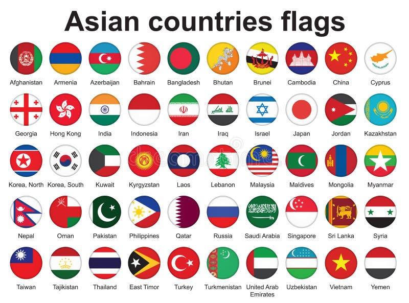 Botones con los indicadores de países asiáticos ilustración del vector
