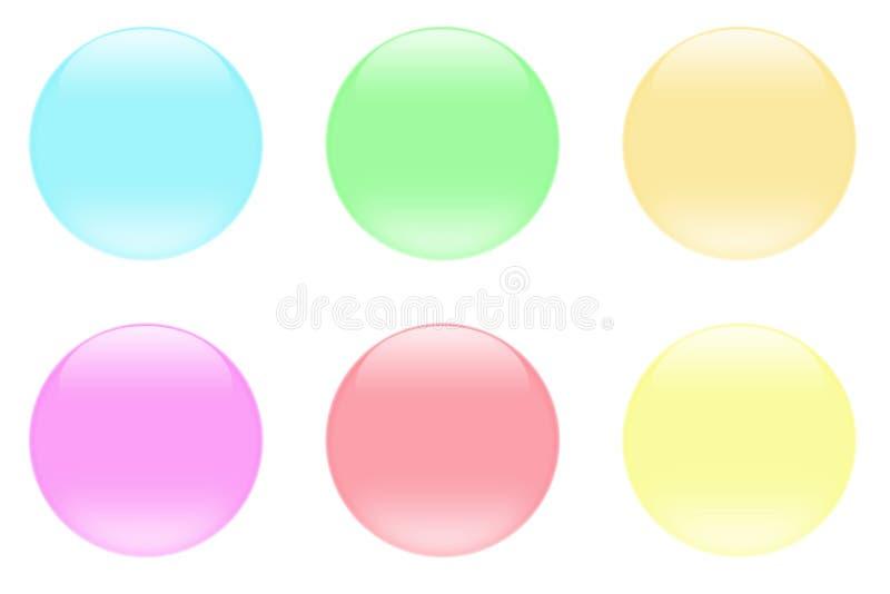 Botones cristalinos de cristal del Aqua stock de ilustración
