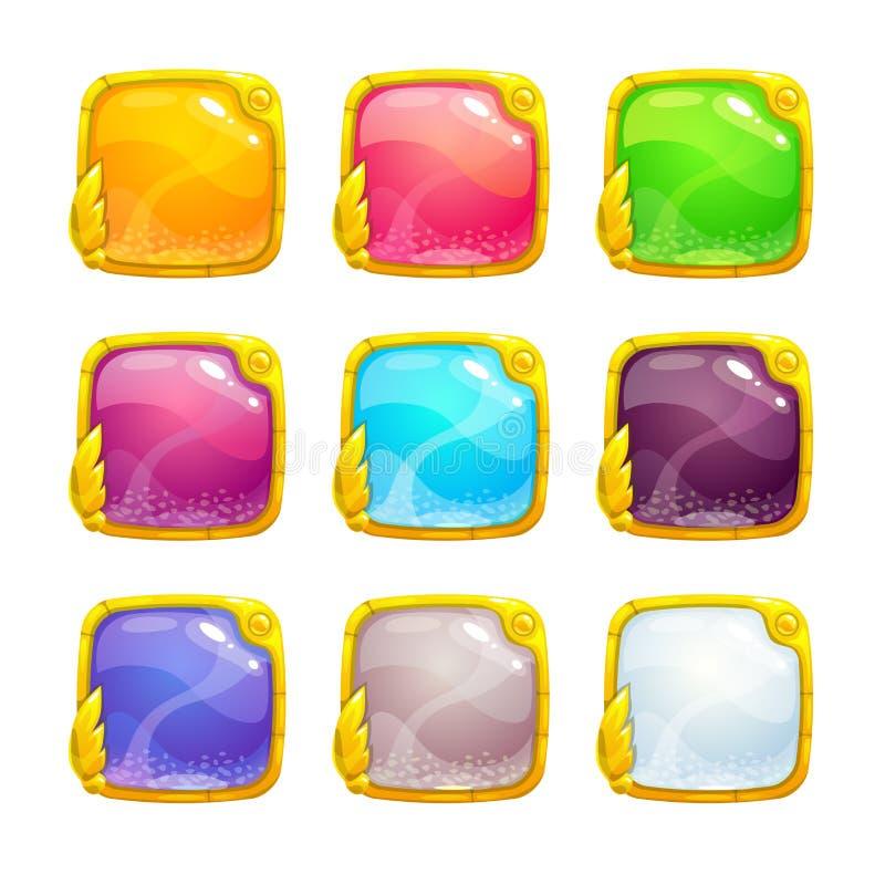 Botones cuadrados coloridos hermosos ilustración del vector