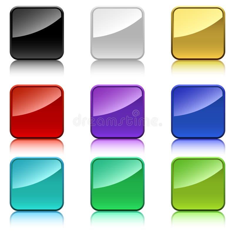 Botones cuadrados del color ilustración del vector