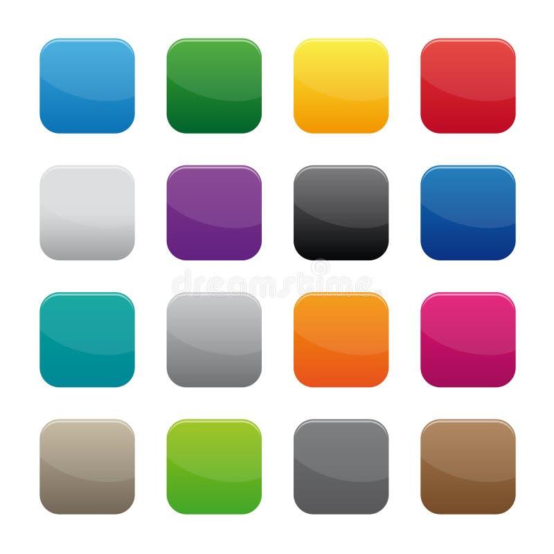 Botones cuadrados en blanco ilustración del vector