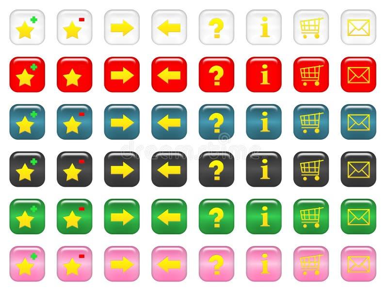 Botones cuadrados redondeados stock de ilustración
